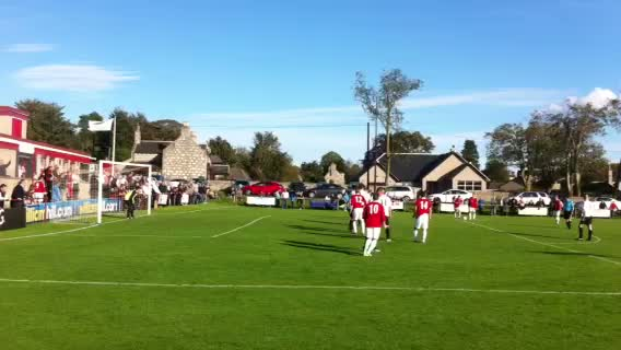 Alfie free kick hits the bar